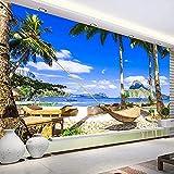 Papel Tapiz Moderno Con Fotos Artísticas Mural Personalizado 3D Paisaje Azul Cielo Nubes Blancas Mar Playa Hamaca Papel Tapiz Sala De Estar Dormitorio Impermeable-350_X_245Cm