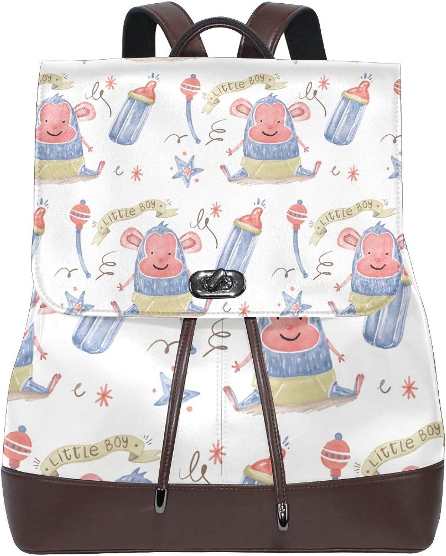 FAJRO Little Boy Monkey Feeder Travel Backpack Leather Handbag School Pack