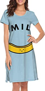 Womens Nightgowns Smile Banana Round Neck Graphic Short Sleeve Nightdress