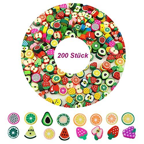 TONAUP 200 cuentas de frutas para enhebrar, cuentas de cerámica suave, accesorios para pulseras de bricolaje, collares de mezcla de polímeros de frutas, para niños y niñas