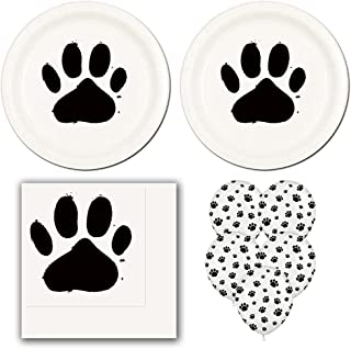 02lp Dog Paw Prints Birthday Party Pack Supplies for 16 guests - dinner plates, napkins, balloons