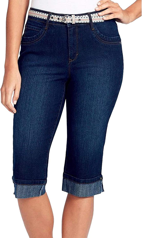 Gloria Vanderbilt Mid Rise Dark bluee Jean Denim Capris Crop Pants Tummy Panel 6