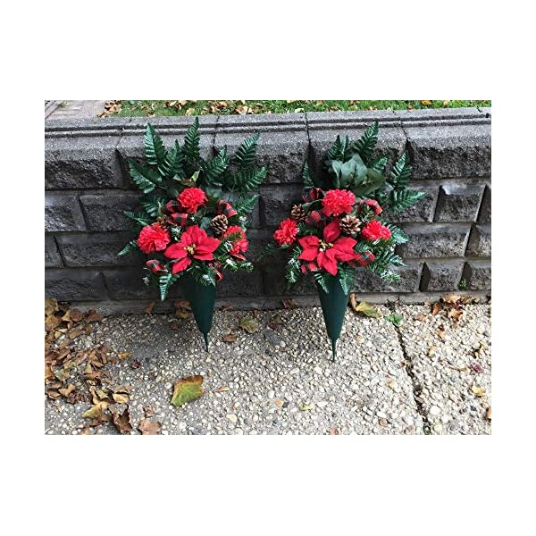 Christmas Cemetery Flower Arrangements, Two Floral Cones