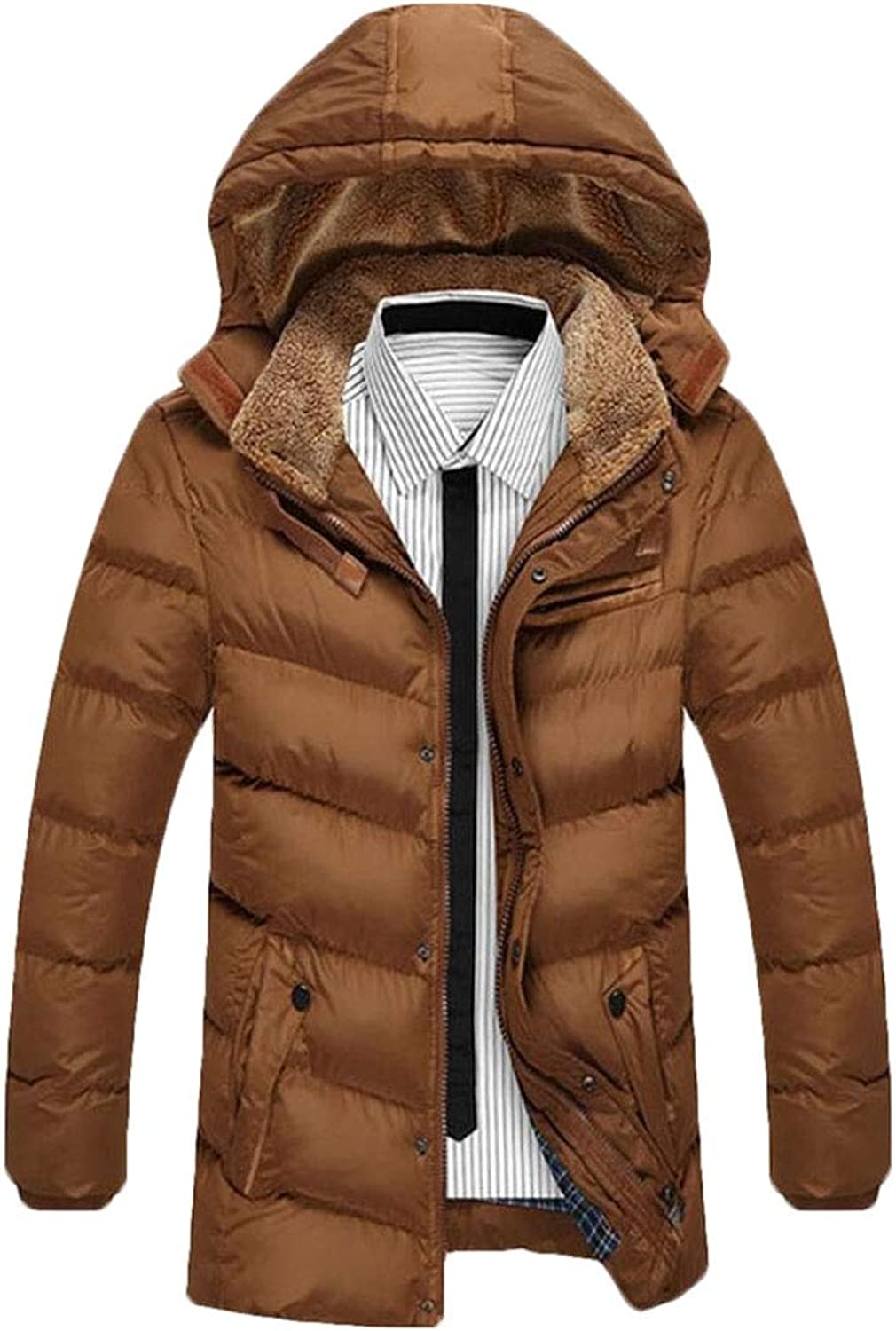 Men's Winter Thicken Puffer Coat Fleece Line Hood Down Jacket
