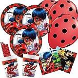 spielum 50-teiliges Party-Set Miraculous Ladybug - Teller Becher Servietten Trinkhalme Luftballons...