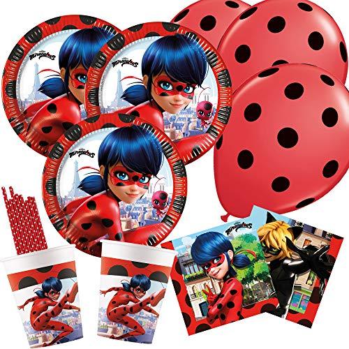 spielum 50-teiliges Party-Set Miraculous Ladybug - Teller Becher Servietten Trinkhalme Luftballons für 8 Kinder