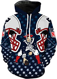 Men's Hooded Long Sleeve 3D Digital Print New England Patriots Football Team Sports Pullover Hoodies