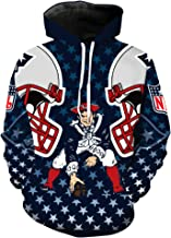 Men's Hooded Long Sleeve 3D Digital Print New England Patriots Football Team Sports Pullover Hoodies
