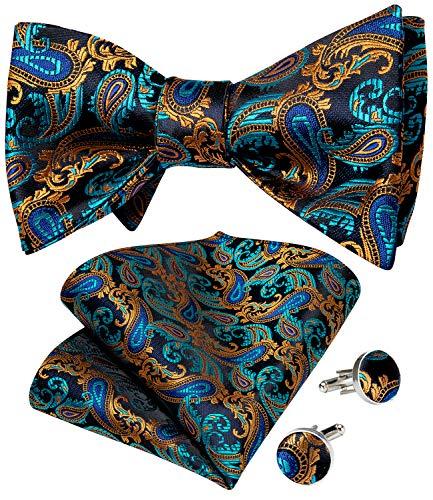 DiBanGu Paisley - Pajarita para hombre, diseño floral, tejido jacquard, 11 café azulado, Talla única