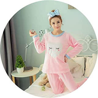 Women Pajama Sets Flannel Long Sleeved Pant Suit