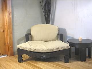 Raja Royal Meditation Chair - Expresso Finish with White Cushion