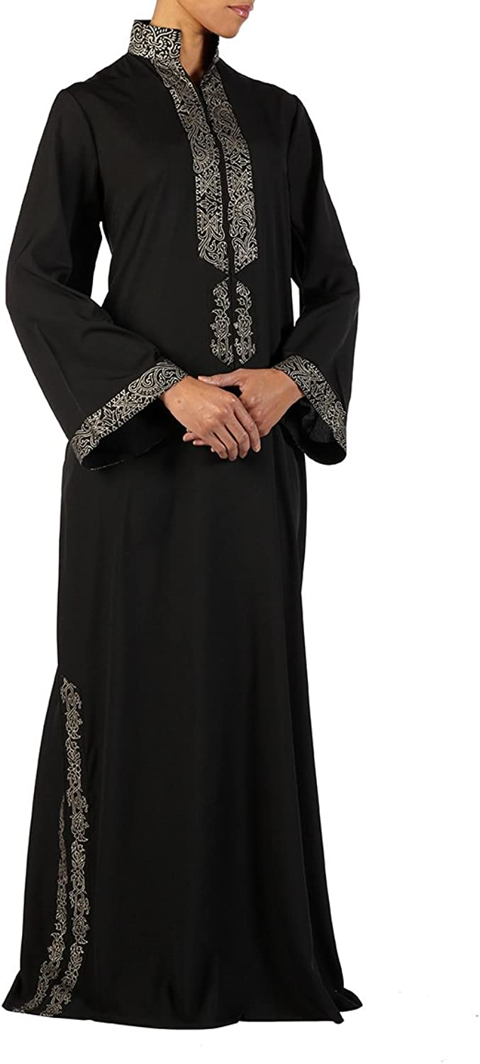 Amara Black crepe abaya with bell shaped sleeves