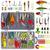 GOANDO Fishing Lures Kit for Freshwater Bait Tackle Kit for Bass Trout Salmon Fishing Accessories Tackle Box Including Spoon Lures Soft Plastic Worms Crankbait Jigs Fishing Hooks Topwater Lures
