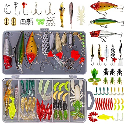 GOANDO Fishing Lures Kit for Freshwater Bait Tackle Kit for Bass Trout Salmon Fishing Accessories...