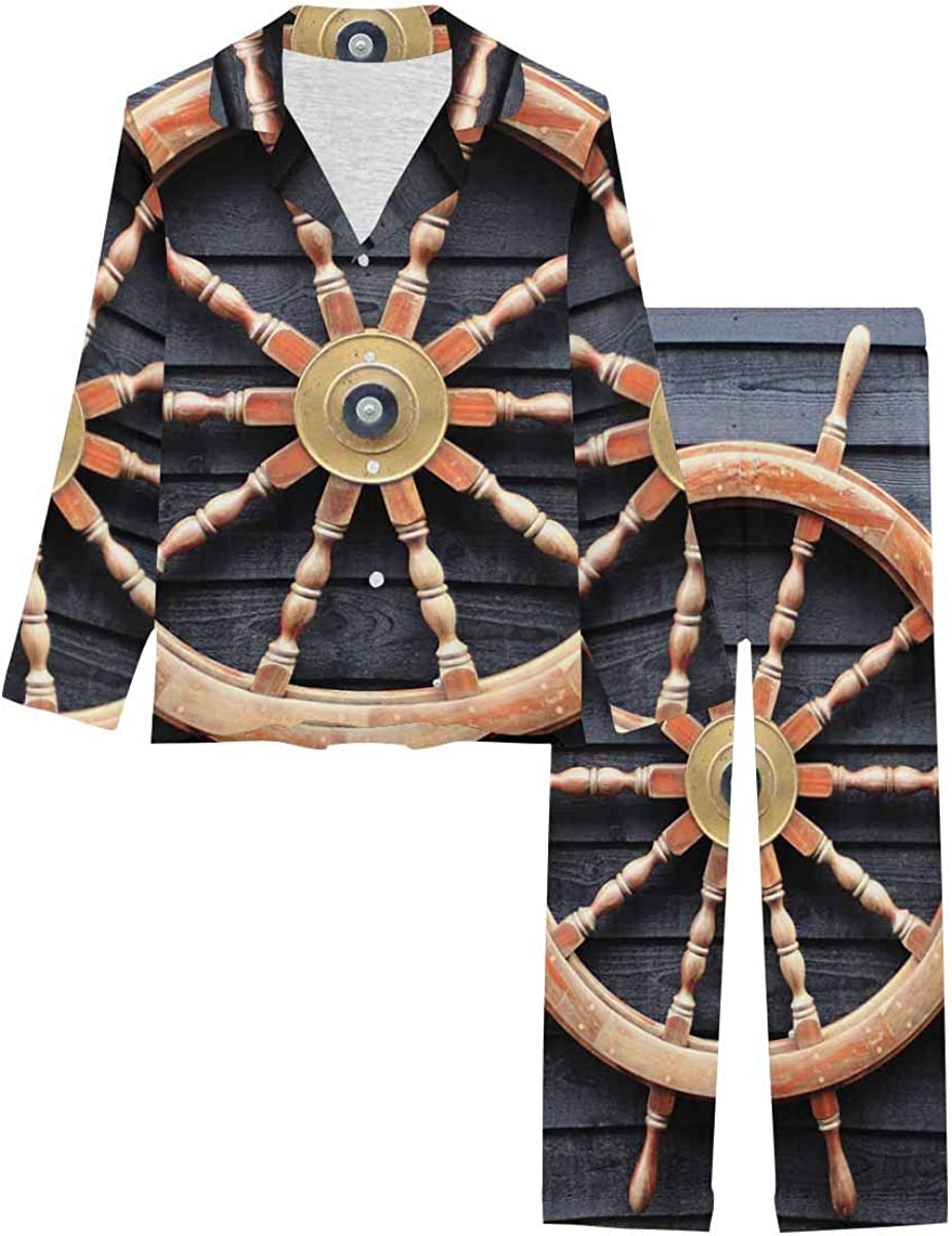 InterestPrint Women's Nightwear Notch Collar Loungewear with Long Pants Old Trawler Steering Wheel Made of Hardwood