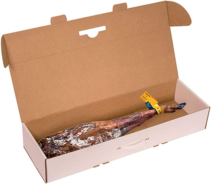Kartox | Caja para jamon |Caja de cartón para paleta de jamón |Color blanco | 86,5x26,5x14 | 2 Unidades: Amazon.es: Oficina y papelería