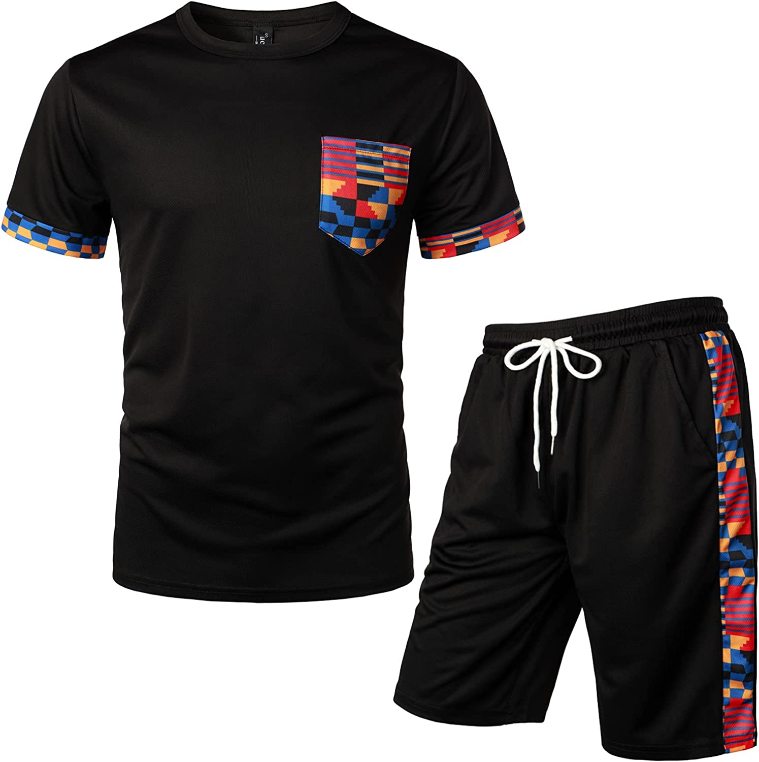 LucMatton High order Men's 2 Piece Outfits Patchwork Hipster Tee Sh Printed Branded goods