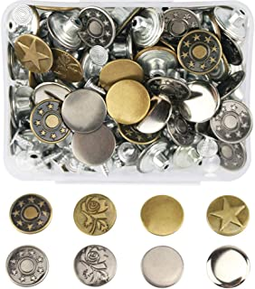 Wolfride 80 Sets Jean Buttons Kit Metal Tack Buttons Jean Pant Button Replacement