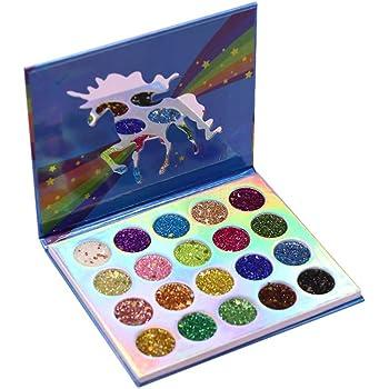 Lurrose paleta de sombras de ojos unicornio 20 colores paleta de sombras de ojos con brillo brillo maquillaje pigmentado sombra de ojos en polvo a prueba de agua para mujeres niñas: Amazon.es: