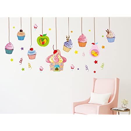 Amazon Brand - Solimo Wall Sticker for Living Room (Cupcake Mania, Ideal Size on Wall, 200 cm x 80 cm)