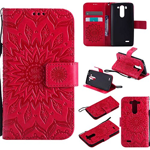 pinlu® PU Leder Tasche Etui Schutzhülle für LG G3 s (5 Zoll) Lederhülle Schale Flip Cover Tasche mit Standfunktion Sonnenblume Muster Hülle (Rot)