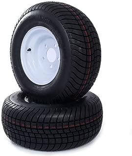 Roadstar Set of 2 Trailer Tires & Rims 20.5x8.0-10 20.5/8-10 205/65-10 White Wheels Tire Mounted (5x4.5) Bolt Circle