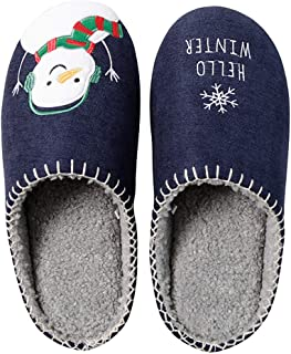 Fascigirl House Slippers Cute Music Snowman Warm Slip On Slippers Indoor Winter Slippers for Women