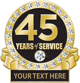 45 Years of Service Pin, 45 Years Award Pin with Rhinestones, Engraving Included Prime