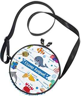 Ahomy Damen-Umhängetasche, rund, Cartoon, niedlich, Ozean-Tiere, Wal, Tintenfisch, Seepferdchen, Krabbe, Schildkröte, Krei...