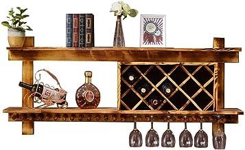 Teapots Organiseer Keuken Massief Hout Wijnrekken Wandgemonteerde Wijnfles Opberghouder | Natuurlijke Pine Bar Wijn Gereed...