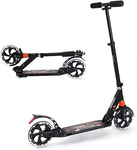 vertsen Stunt Scooter, EN ALUMINIUM PLIABLE portable adolescents Adulte City Suspension Trougetinette avec de grandes roues de 200mm, 3Niveau réglable Hauteur 85cm 90cm 95cm