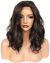 Black Lace Front Wigs GLAMADOR Short Bob Lace Wigs, Shoulder Length Body Wavy Wig, Natural Loose Wave Synthetic Heat Resistant Fiber Hair Replacement Wig for Black Women with Free Wig Cap- 14 Inch