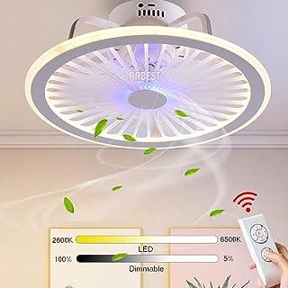 LED Invisible Ventilador De Techo 80W Fan Lámpara De Techo Luz De Techo Regulable Con Control Remoto Para Luz Sala De Estar Dormitorio Habitación De Niños Ventilador Silencioso Iluminación (Blue)