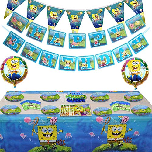 85 Pcs Spongebob Birthday Party Supplies and Decorations Set of KidsGirls and Boys Party Suppliers Favor 1st Under8, Includes Tableware, Kit Blowing Dragon, Balloons, Table Cloth and Banner - Serves 10 Guest