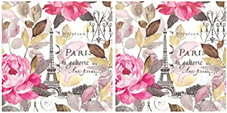 Scout and Company Jardin Paris Peonies France Cocktail Napkins - Cute Designer Cocktail Napkins 3-ply, 40 count - For Barw...