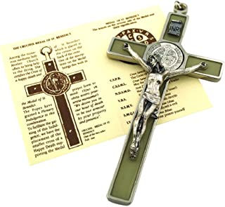 St. Benedict Wall Crucifix with Colored Enamel and Booklet Explaining The St. Benedict Medal (Luminous (Glows in The Dark!))