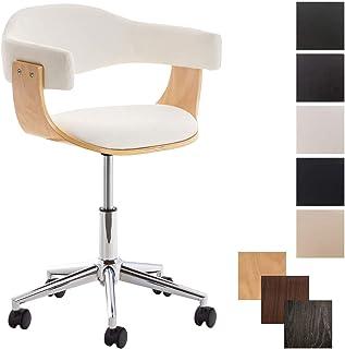 CLP Silla de Oficina Moderna Brügge de Cuero PU I Silla de Escritorio con Ruedas I Taburete de Oficina con Ruedas I Color: Blanco, Madera Natural