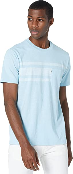 Slub Chest Stripe Pocket Short Sleeve Tee Shirt