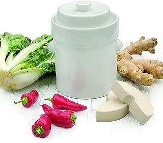 Raw Rutes - 2 Liter White German Style Fermentation Crock Pot For Fermenting Sauerkaut, Kimchi and Pickles!