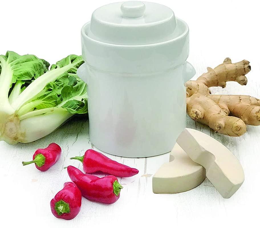 Raw Rutes 2 Liter White German Style Fermentation Crock Pot For Fermenting Sauerkaut Kimchi And Pickles