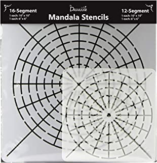 Mandala Stencils for Dot Painting – Set of 4 Stencils - 16 Segment - Small 6x6 and Large 10x10 – 12 Segment Small 6x6 and Large 10x10