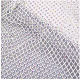 120cm x 45cm Craft Soft Elastic net with Rhinestone mesh Fabric cuttable for Clothing Bag Making Party Decorations (White Elastic net)