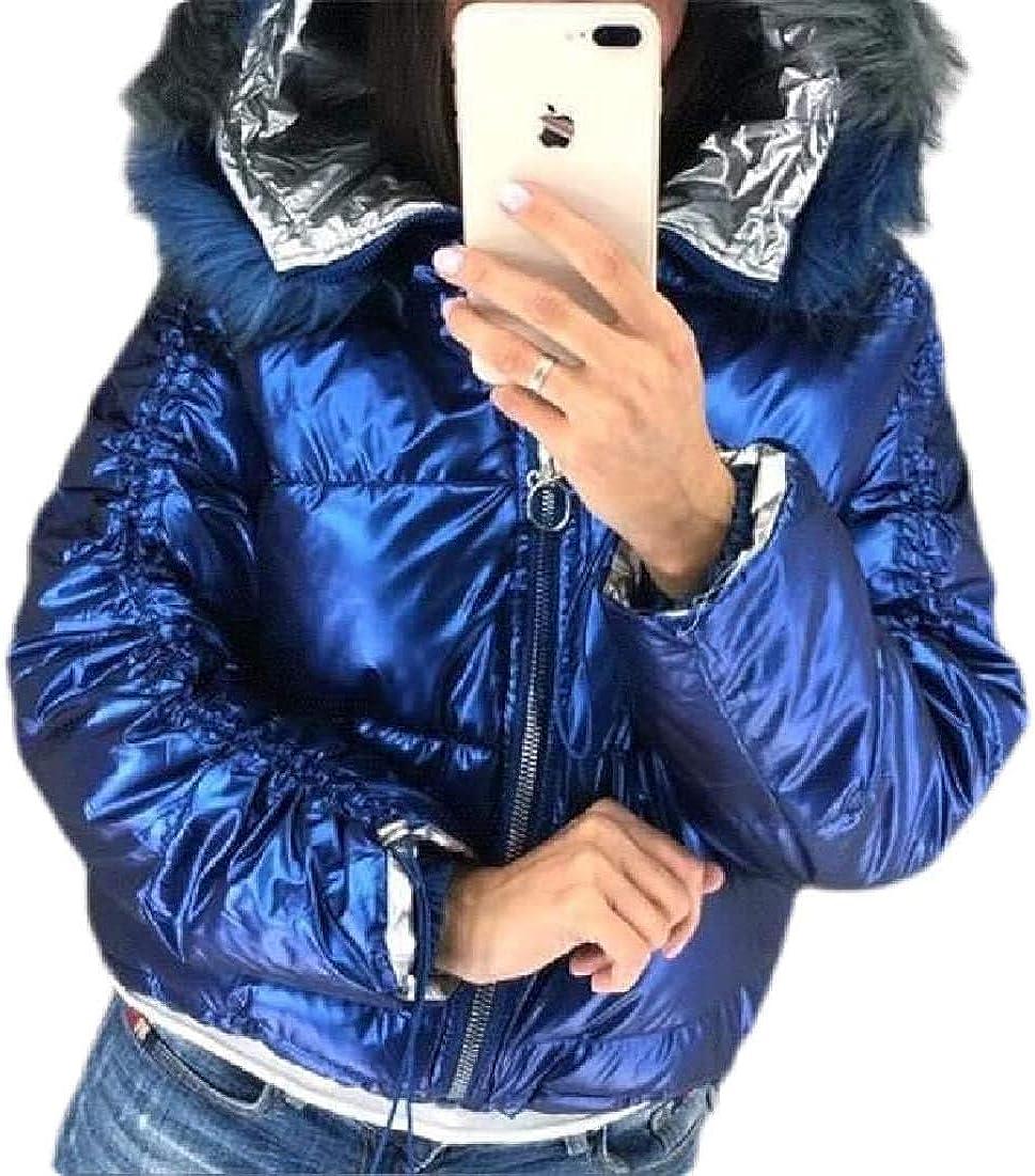 Yhsuk Women Down Jacket Faux Fur Trim Hood Padded Metallic Winter Short Down Jacket,2,XX-Large