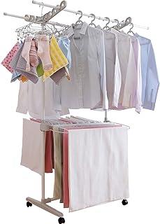 アイリスオーヤマ 洗濯物干し 室内物干し 約3人用 キャスター付き 幅118cm W-700KR