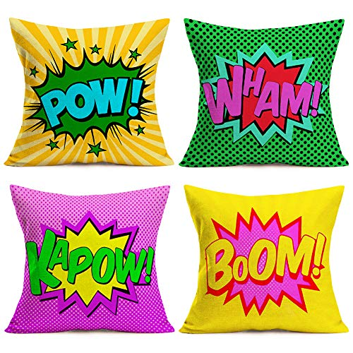 Easternproject Set of 4 Super Hero Quote Throw Pillow Case Cushion Cover Comic Book Exclamation Pattern Decorative Square 18x18 Inch Pillowcase Best Gift (Pow Wham Kapow Boom)
