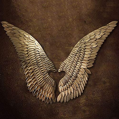 PoJu Golden Wing Sculpture decoración de la Pared, un par alas de ángel Vintage Loft de Hierro Forjado Garden Bar café Navidad Colgantes de Pared esculturas (Size : Small)