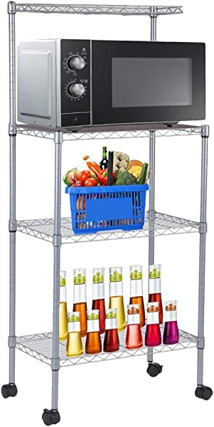 Cimiva 3 Tier Microwave Stand Storage Rack Microwave Cart Oven Stand For Home Kitchen Storage Silver 3 Tier With Wheel