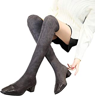 fd372d097 AgrinTol Women Lace-Up Round Toe High Boots Over The Knee Boots High Heels  Martin