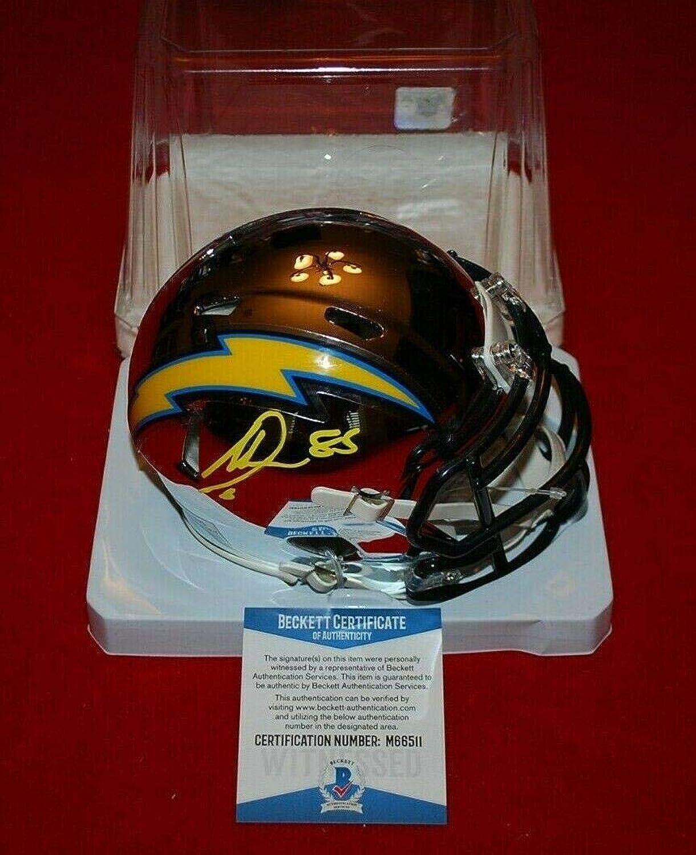 Antonio Gates Signed Mini Helmet  Chrome Beckett witnessed  Beckett Authentication  Autographed NFL Mini Helmets