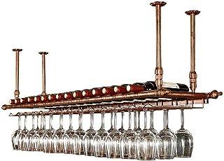 N / A Plafond casier À Vin LINLINZ Casiers À Vin Au Plafond Suspendus Porte-Verres À Pied, Hauteur Réglable Étagère De Déc...